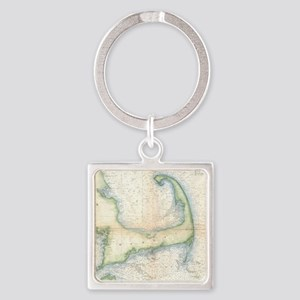 Vintage Map of Cape Cod (1857) Square Keychain