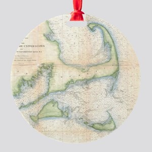 Vintage Map of Cape Cod (1857) Round Ornament