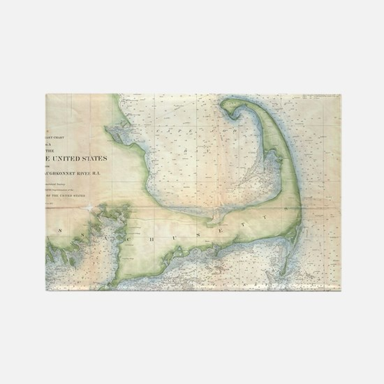 Vintage Map of Cape Cod (1857) Rectangle Magnet