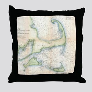Vintage Map of Cape Cod (1857) Throw Pillow