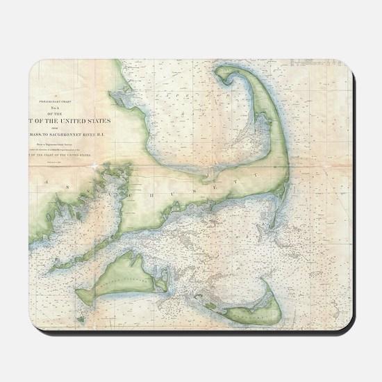 Vintage Map of Cape Cod (1857) Mousepad