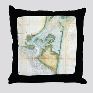 Vintage Map of Cape Fear (1857) Throw Pillow