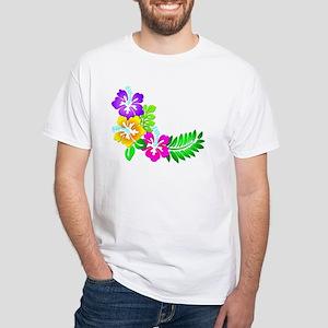 Tropical Hibiscus White T-Shirt