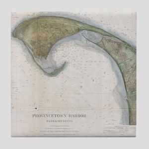 Vintage Map of Provincetown Tile Coaster