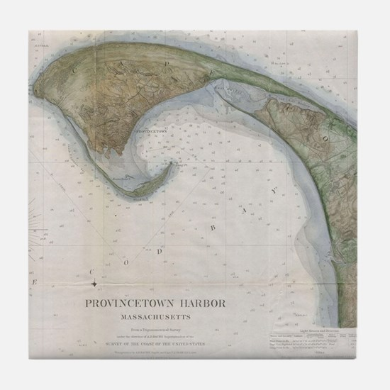 Vintage Map of Provincetown Tile Coaster