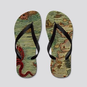 Antique Map Flip Flops