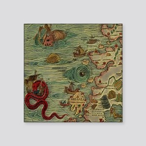 "Antique Map Square Sticker 3"" x 3"""