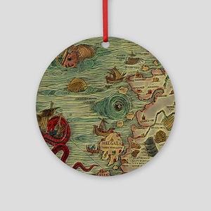 Antique Map Round Ornament