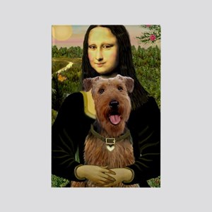 Mona Lisa & Airedale Rectangle Magnet