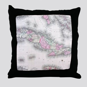 Vintage Map of Cuba (1861) Throw Pillow