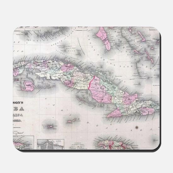 Vintage Map of Cuba (1861) Mousepad