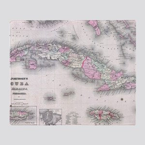 Vintage Map of Cuba (1861) Throw Blanket