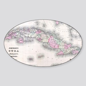 Vintage Map of Cuba (1861) Sticker (Oval)