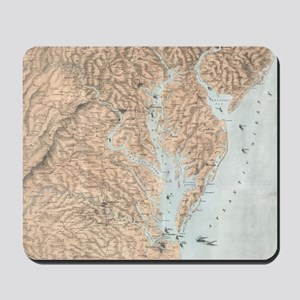 Vintage Map of The Chesapeake Bay (1861) Mousepad