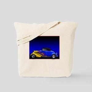 Blue Hot Rod w Flames Tote Bag