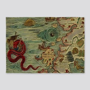 Antique Map 5'x7'Area Rug