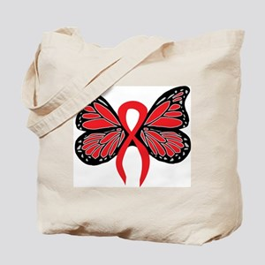 Red Butterfly Ribbon Tote Bag