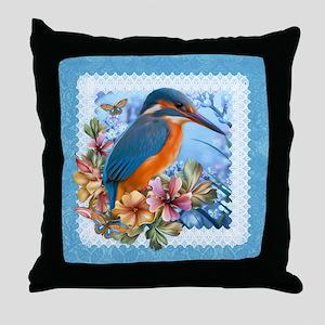 Kingfisher Bird Design Throw Pillow