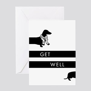 Dachshund get well design Greeting Cards