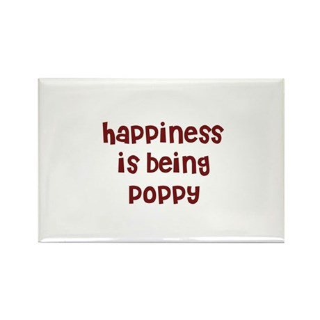 happiness is being Poppy Rectangle Magnet