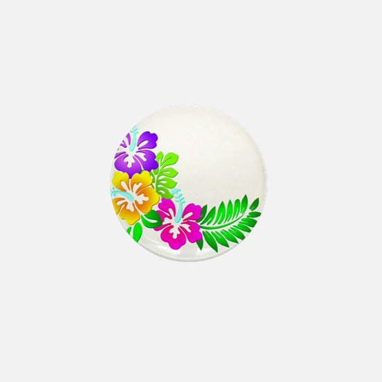 Tropical Hibiscus Mini Button