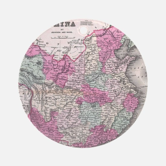 Vintage Map of China (1862) Round Ornament