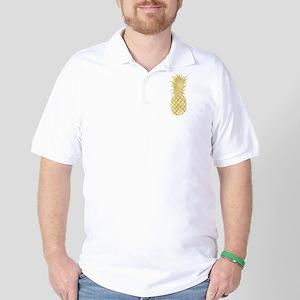 Gold Glitzy Pineapple Golf Shirt