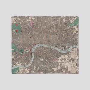 Vintage Map of London England (1862) Throw Blanket