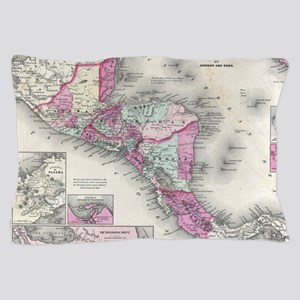 Vintage Map of Central America (1864) Pillow Case