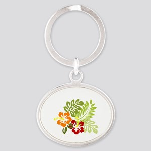 Hibiscus Dreams Oval Keychain