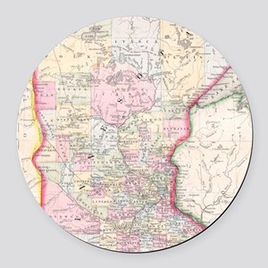 Vintage Map of Minnesota (1864) Round Car Magnet