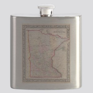 Vintage Map of Minnesota (1864) Flask