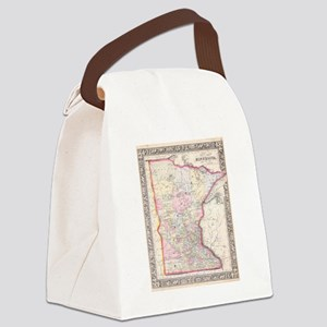 Vintage Map of Minnesota (1864) Canvas Lunch Bag