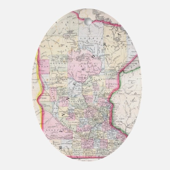 Vintage Map of Minnesota (1864) Oval Ornament