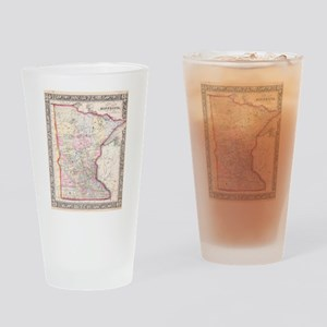 Vintage Map of Minnesota (1864) Drinking Glass