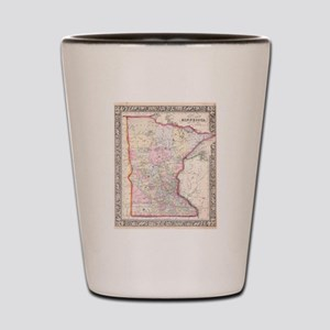 Vintage Map of Minnesota (1864) Shot Glass