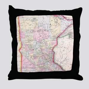 Vintage Map of Minnesota (1864) Throw Pillow
