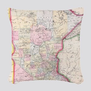 Vintage Map of Minnesota (1864 Woven Throw Pillow