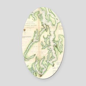 Vintage Map of The Puget Sound (18 Oval Car Magnet