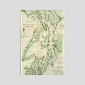 Vintage Map of The Puget Sound (1 Rectangle Magnet