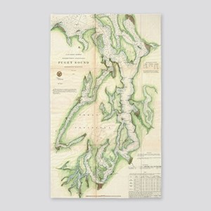 Vintage Map of The Puget Sound (1867) Area Rug