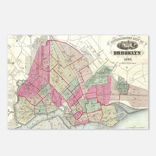 Vintage Map of Brooklyn N Postcards (Package of 8)