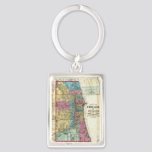 Vintage Map of Chicago (1869) Portrait Keychain