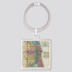 Vintage Map of Chicago (1869) Square Keychain