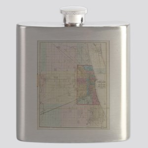 Vintage Map of Chicago (1869) Flask