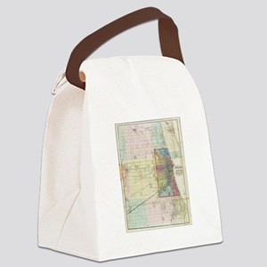 Vintage Map of Chicago (1869) Canvas Lunch Bag