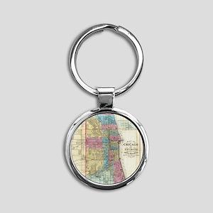 Vintage Map of Chicago (1869) Round Keychain