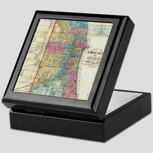 Vintage Map of Chicago (1869) Keepsake Box