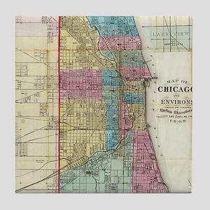 Vintage Map of Chicago (1869) Tile Coaster