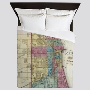 Vintage Map of Chicago (1869) Queen Duvet